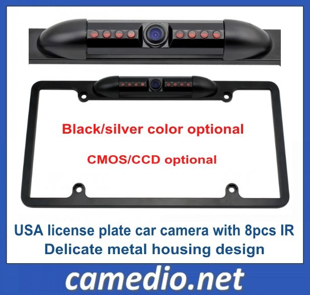 American USA night vision car  license plate frame  rearview camera with 8pcs IR