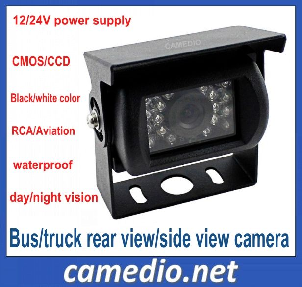 CMOS/CCD Night vision waterproof rear view bus/truck camera with 18pcs IR night vision