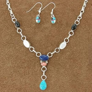 Genuine Turquoise Jewelry, Lapis Pearl Onyx Silver Choker Necklace