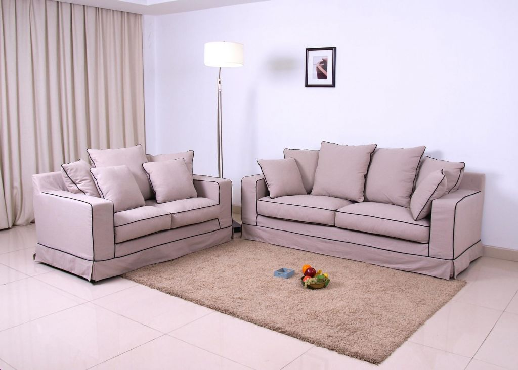 wooden chairs, sofa, end table