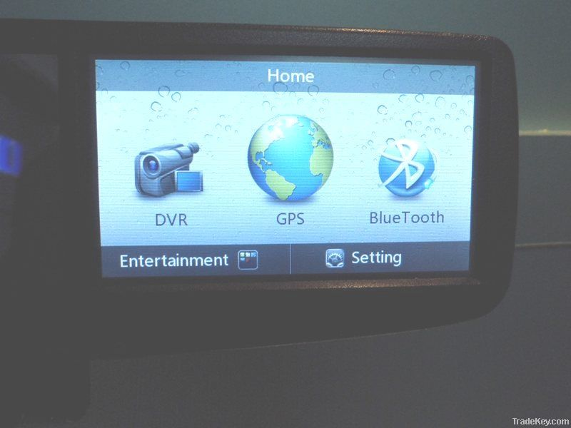 4.3 inch rear review mirror, GPS+Dual Driving Record+Bluetooth Function