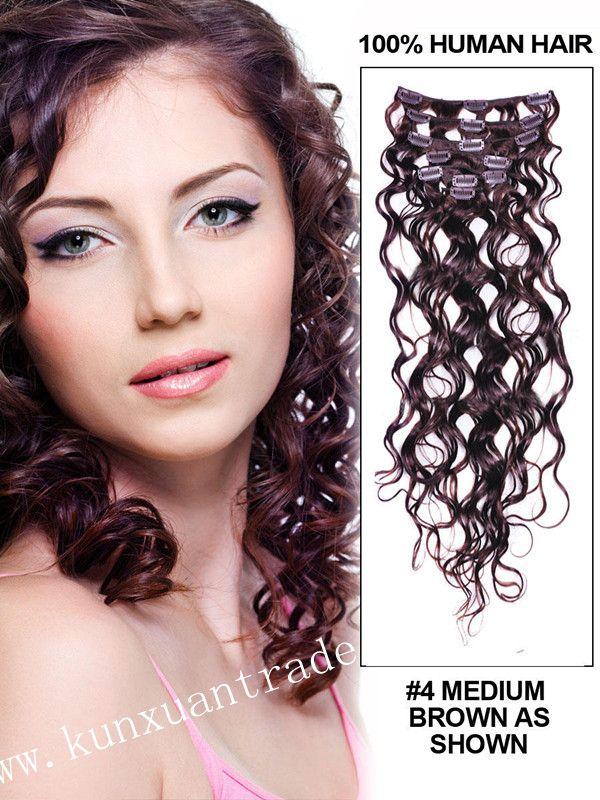 100% human hair 7 Piece Deep Wave/Boday wave/silky, Brazilian virgin hair weft,Clip in hair extension