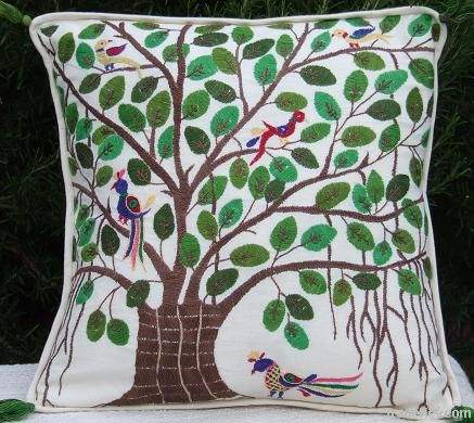 cushion covers, bed covers, wall hangings, table lamps, ladies sandles