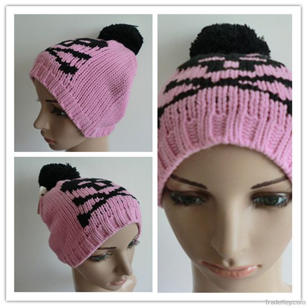 Beautiful pink beanie skull hat