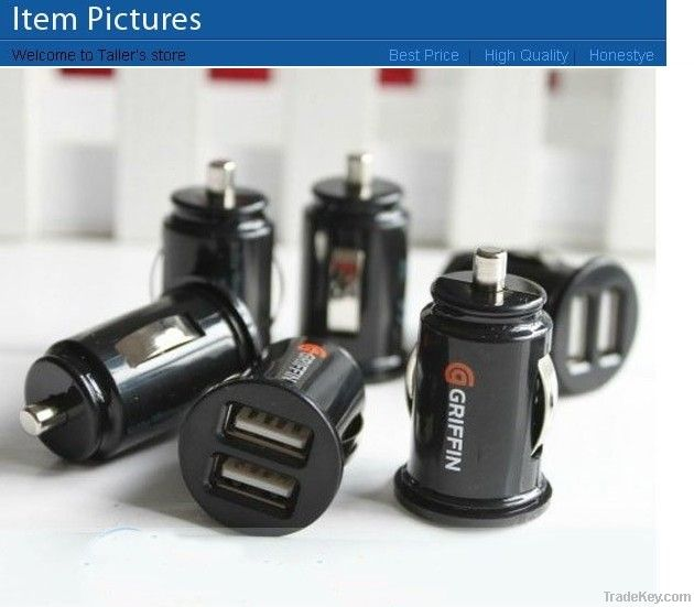 Mini Bullet Dual USB 2-Port Car Charger Adaptor for iPhone 4 4g iPod T