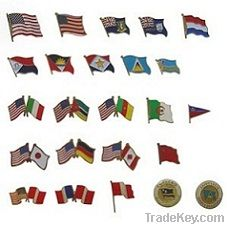 Flag badges with a pin