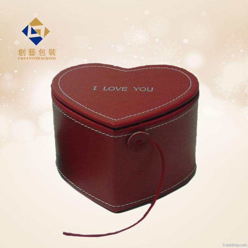 Heart shape leather jewelry box