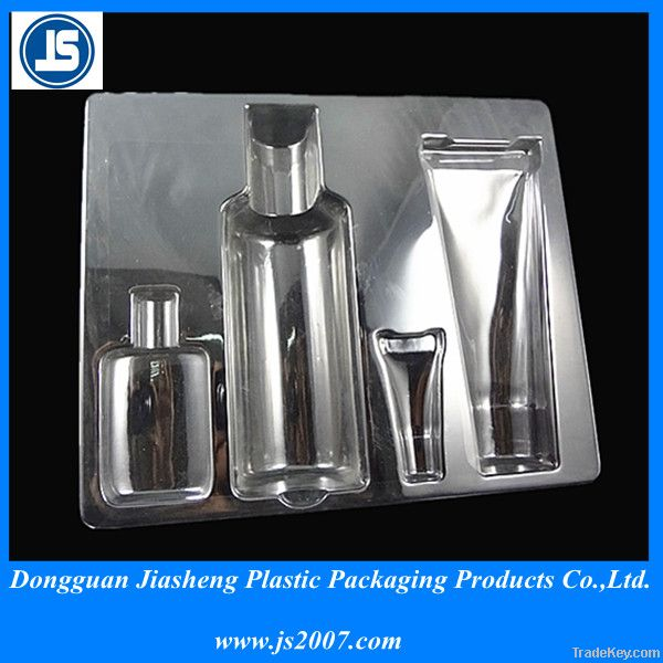 Cosmetic plastic packaging tray