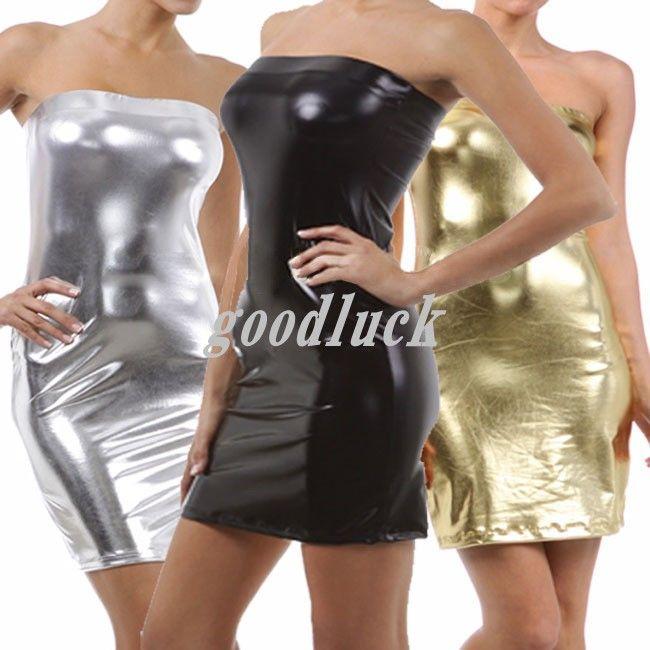 Sexy Dress Shiny Metallic Club Wear Strap Dress