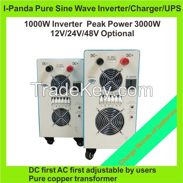 1000W  power inverter with battery charger charge Gel AGM Lead acid battery etc. with LCD LED RS232 CE RoHS Peak 3000W