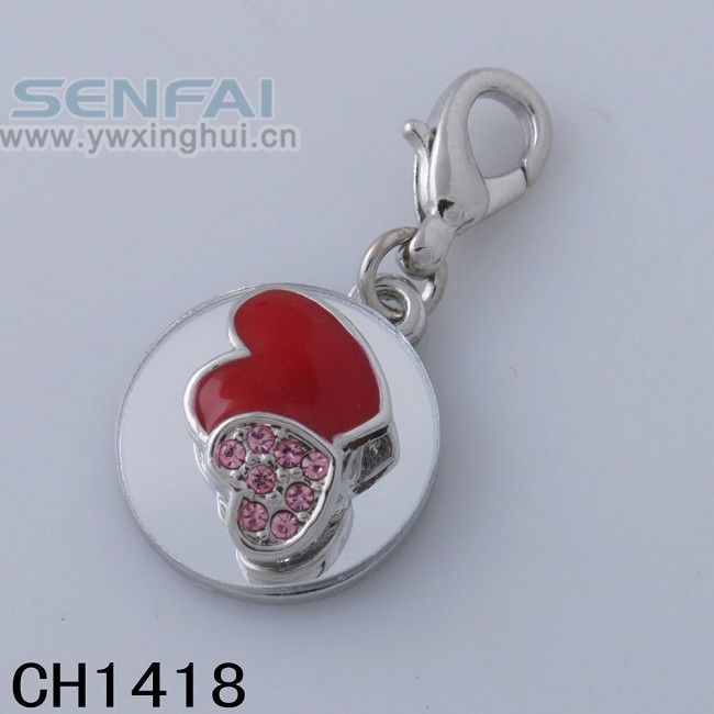 Red Heart pendant with Full Clear Crystals