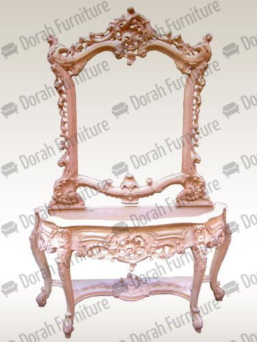 Wooden Console Table And Mirror - Top Marble