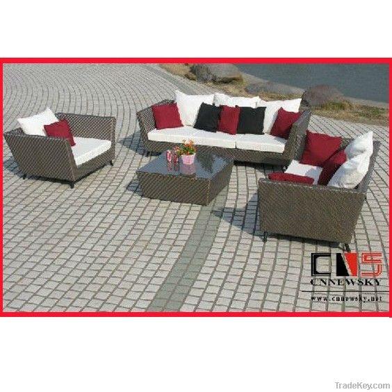 Alu frame fashion outdoor PE rattan sofa furniture for European