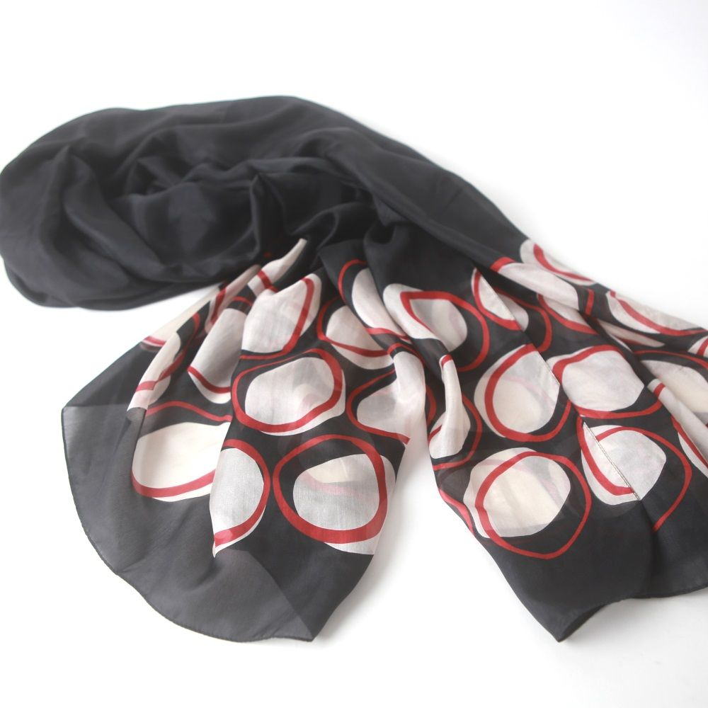 bubble print black silk paj scarf lightweight and flowy