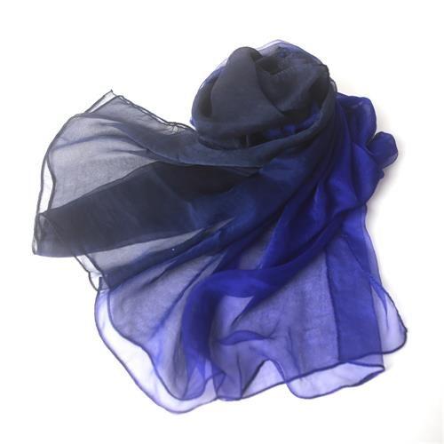 ombre color cobalt to dark navy silk gauze scarf