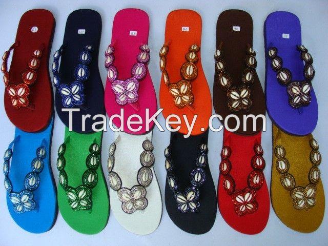 Bohemian beaded Thai silk slippers