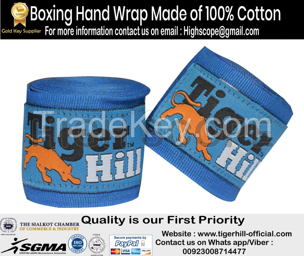 Boxing Hand Wrap Made of 100% Cotton  - No-Stretch - Customization with Label