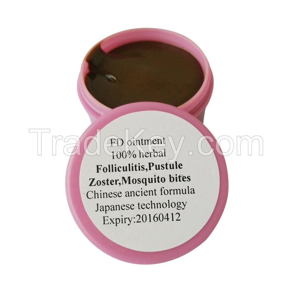 Impetigo,Folliculitis, hot tub rash,Shingles treatment: FD ointment, 100% Chinese traditional medicine, 100% herbal