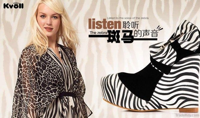 2013 women's spring summer shoes mei red velvet bow fashion zebra prin