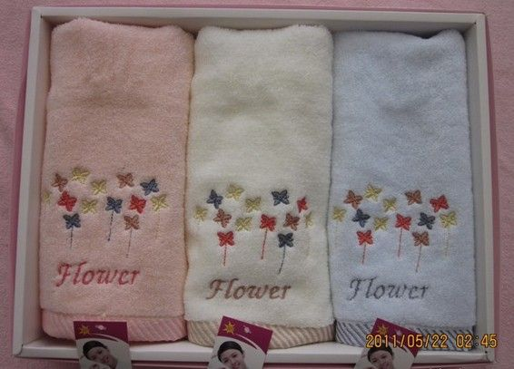 Embroidered cute star orange bath towel untwisted cotton soft towels