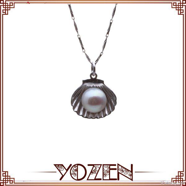 925 silver shell design nature white pearl quantum pendant