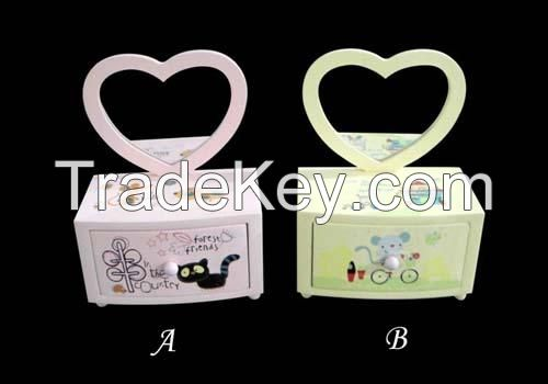 hotselling cartoon jewelry box, printing wooden jewelry case, promotional jewelry collection box