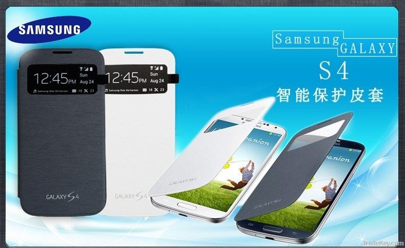 leather cover and original battery back cover for samsung S4