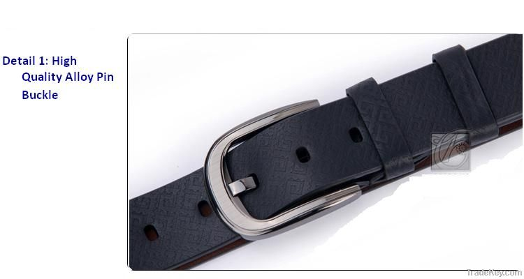 High Quality Men's Black Genuine Cow Leather Belt Alloy Pin Buckle