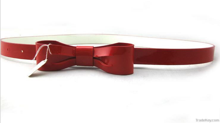 new style fashion woman belt PU imitation leather shinning bowknot