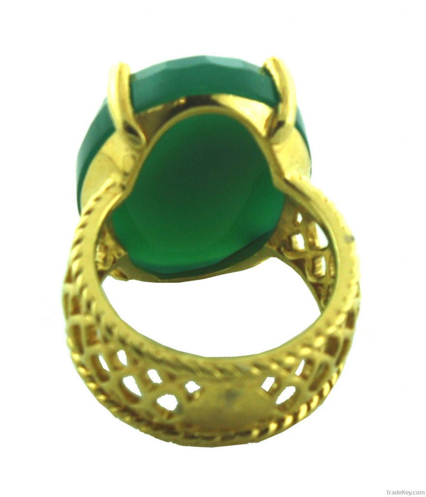 Vintage Green Onyx Ring Jewelry, 10K Gold Plated Ring Jewelry, Uniqu