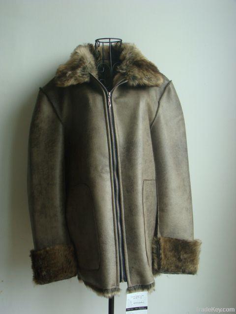 Composite suede fur coat