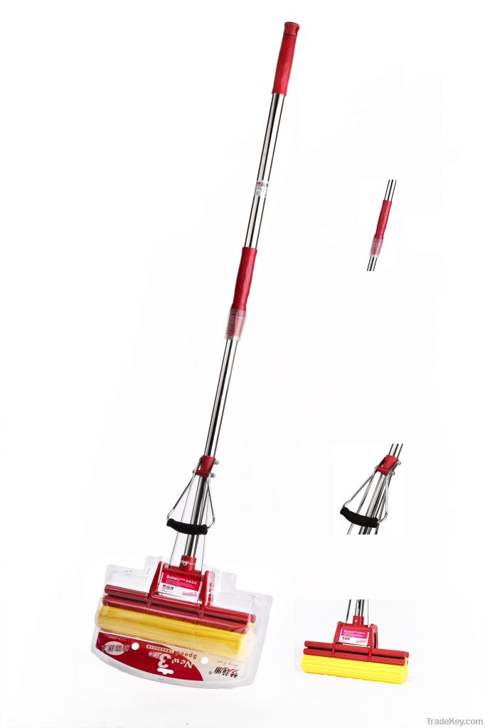 PVA absorbent mop with steel pole extensible