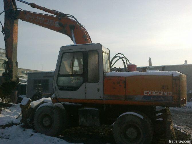Used Hitachi EX160WD Excavator Wheel Type