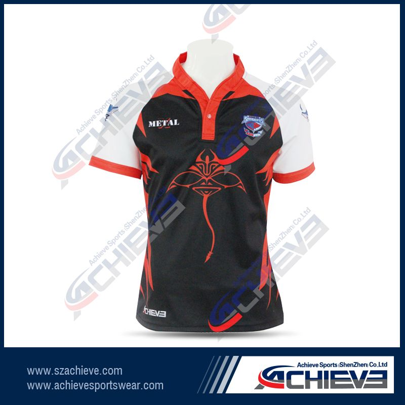 All over subliamtion rugby jersey with collars for women
