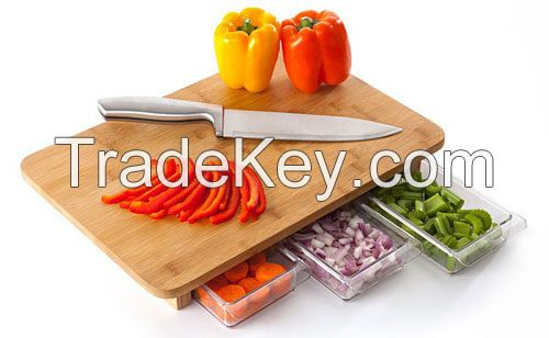 Bamboo Cutting Board with Drawer / with containers