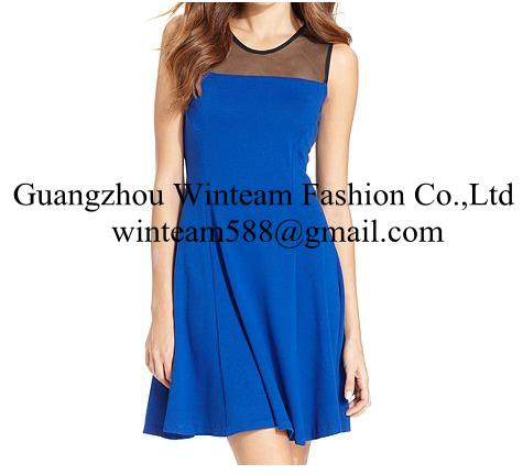 2014 China wholesale clothing sleeveless high-neck mesh a line dress on sales