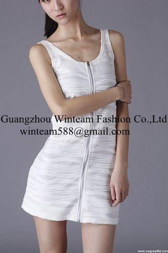 2014 clothes women front exposed-zipper bodycon dress from clothing factory
