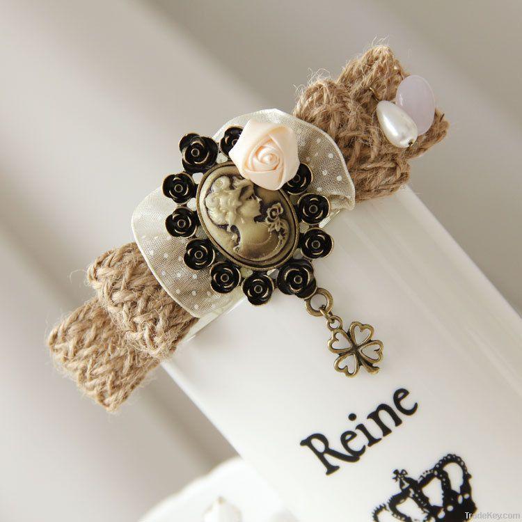 Vintage fashion hair pin head wear with cute flower decoration FJ-15