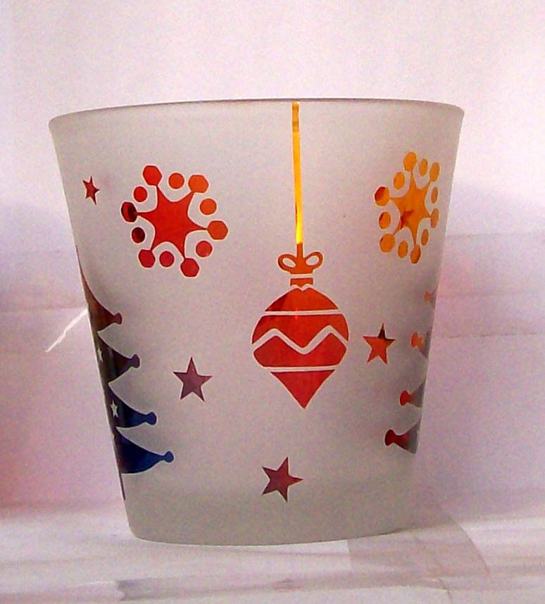 christmas   glass candle stick, glass candle cup, christmas ornament
