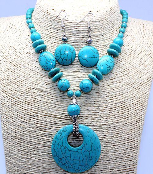 Turquoise stone necklace sets