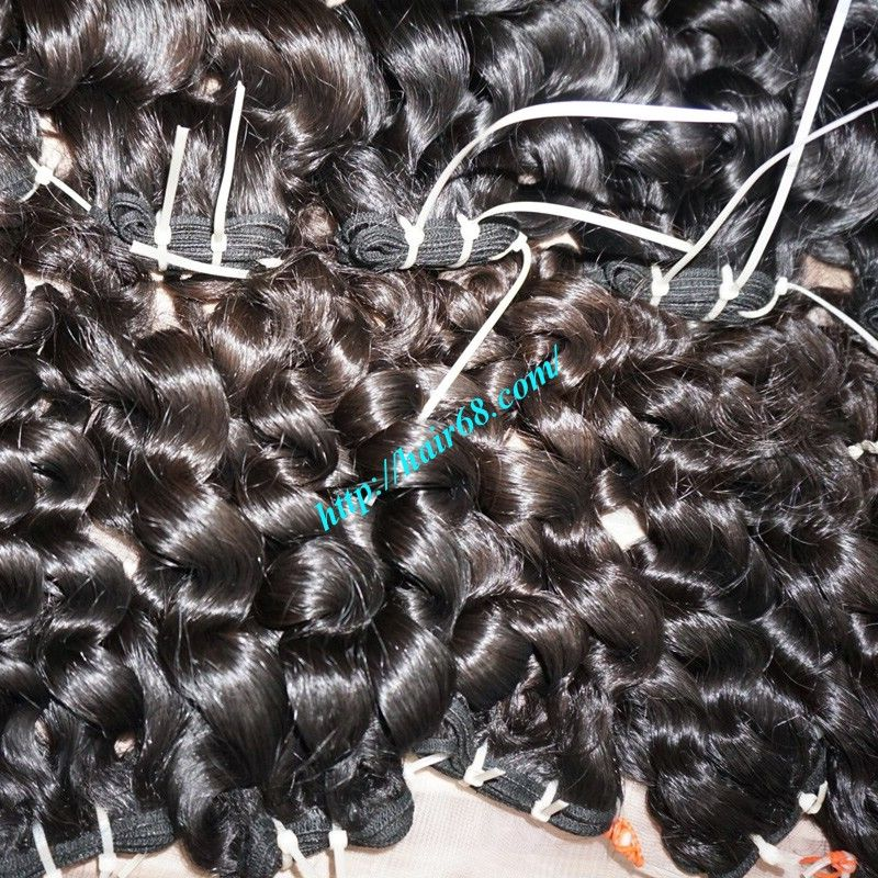 Weft Curly Human Hair Extensions 100% Remy Hair