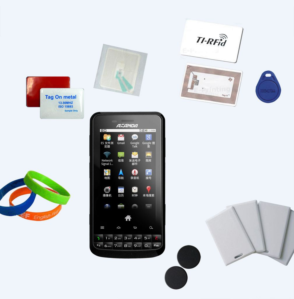 android Industrial PDA UHF RFID/WIFI, Bluetooth, Barcode scanner GPS, 3G smart phone