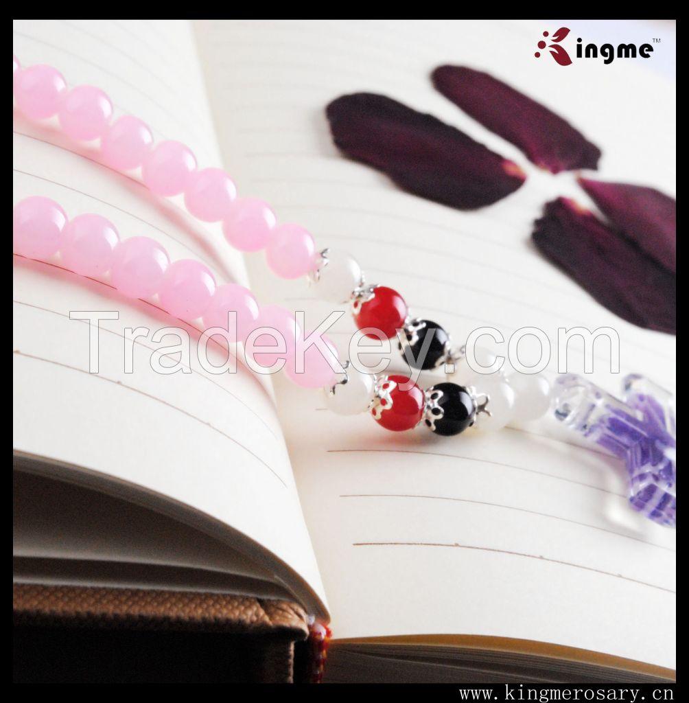 Yiwu fashion catholic glass rosary beads necklace with cross