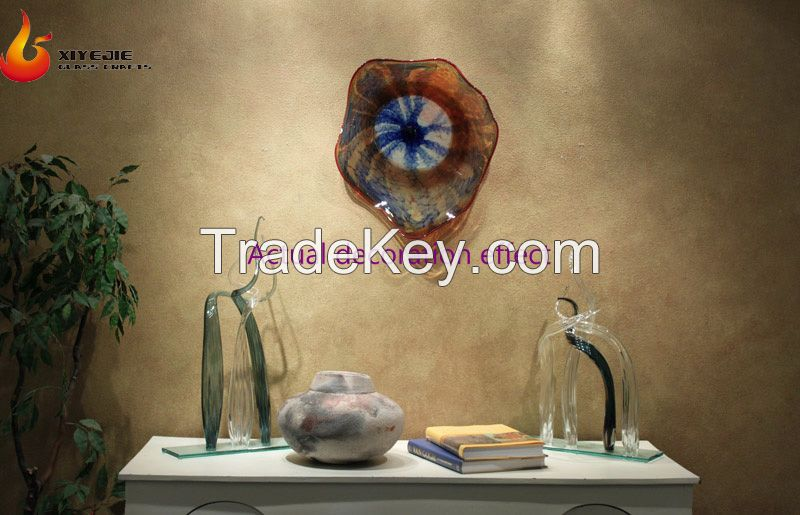 Hot selling home a living room Hotel creative bedroom wall decoration hand blown murano glass bowls plates QP316
