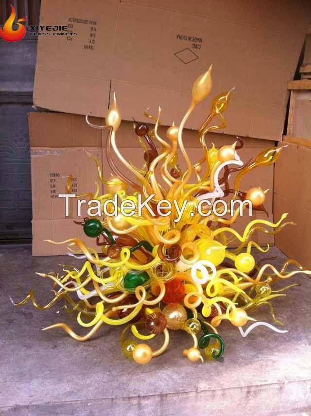 Hot Sale color murano wall glass Sculpture for Modern hotel lobby villa garden home villa Decoration ..