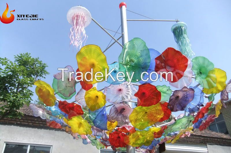 hot sales Modern large outdoor garden hotel interior hall decorative hand made chihuly style handmade custom made glass sculpture plate