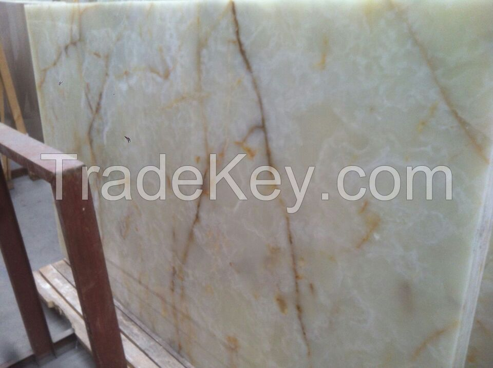 White Onxy Big slab and tile (Yellow, Pink, Green, Brown, cream )