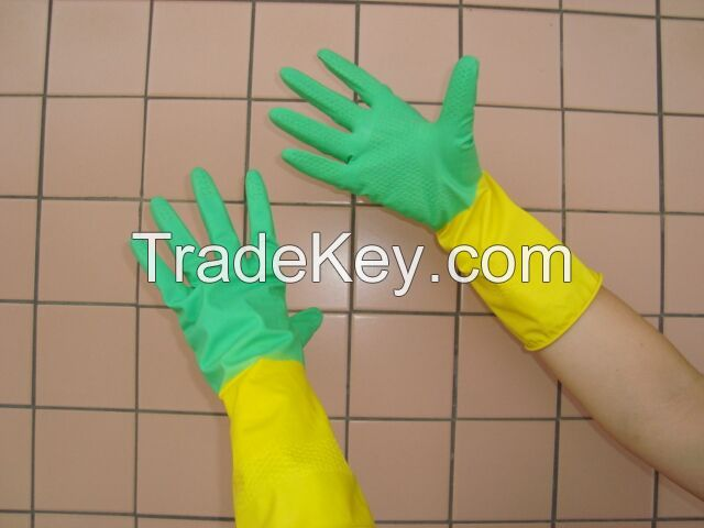 Bi-color rubber latex household cleaning glove