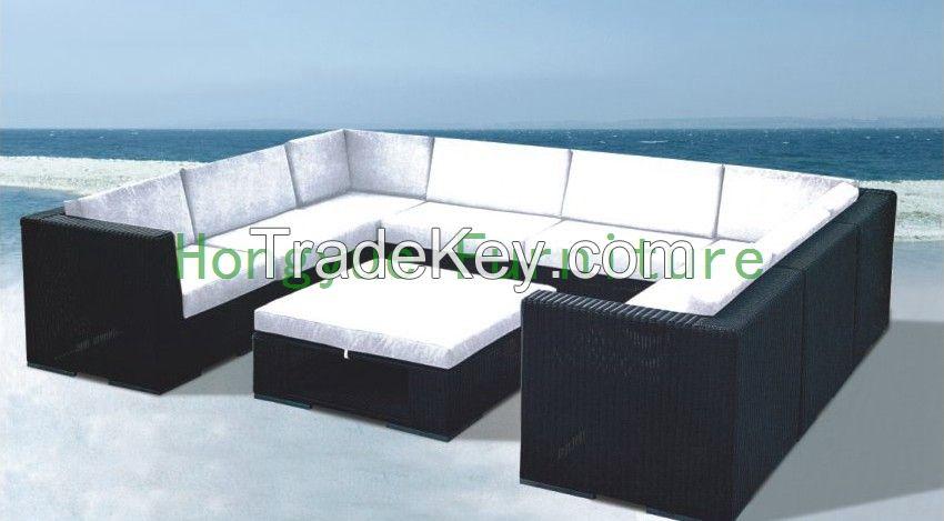 Garden sectional rattan sofa set furniture supplier