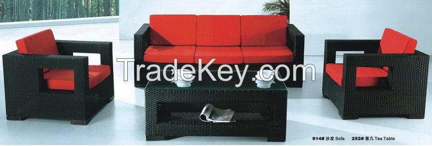 Outdoor garden rattan sofa set furniture with cushions solution